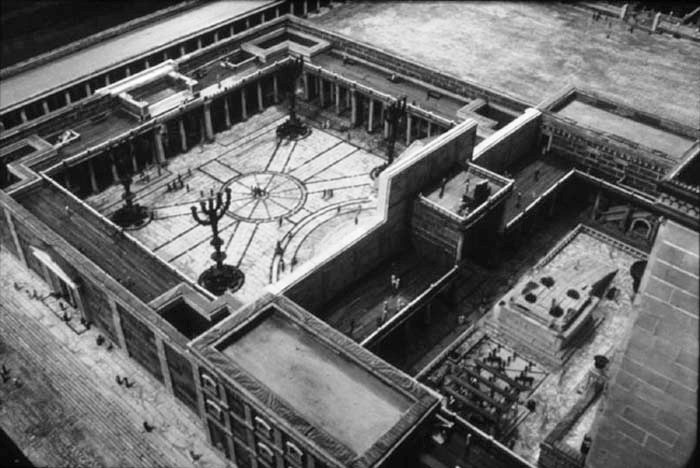 Reconstruction of the Women's Court (upper left) in the Temple of Jerusalem