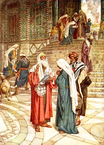 The Women's Court in the Temple of Jerusalem; Mary presents Jesus at the Temple