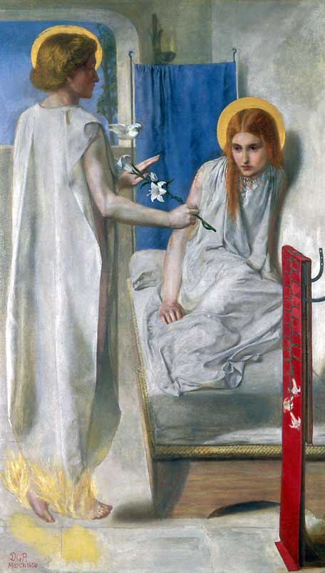 Paintings of Mary of Nazareth, mother of Jesus. The Annunciation, by Dante Gabriel Rossetti