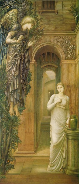 Paintings of Mary, mother of Jesus. Annunciation, 1879, Edward Burne-Jones