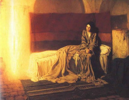 Paintings of Mary of Nazareth: The Annunciation, 1898, Henry Ossawa Tanner