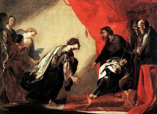 ESTHER, BIBLE ART GALLERY, Bernardo Cavallino 1645-50 Esther becomes Queen
