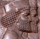 Detail of two court officials from a wall in the Palace of Persepolis