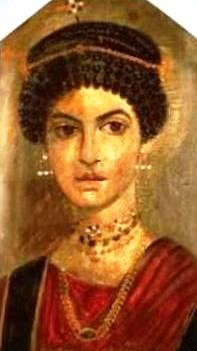 Hairstyle, jewelry and clothes of a wealthy 2nd century AD woman; Fayum coffin portrait