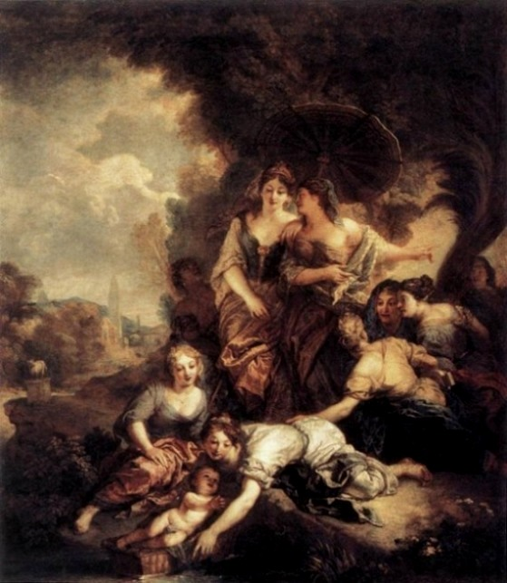 Moses Paintings: The baby Moses rescued from the River Nile, Charles della Fosse