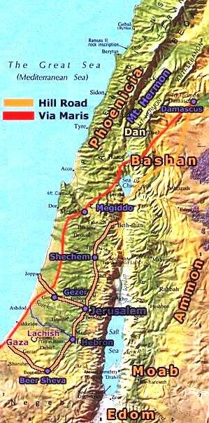 Ancient city of Dan in Israel, main trade routes