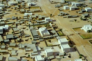 Bible history: reconstruction of the ancient town built by Akhnaton at Amarna, Egypt