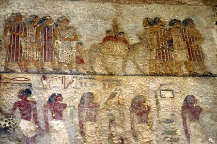 Bible history: a group of travelling merchants, probably Hebrews, from an Egyptian tomb at Beni-Hassan