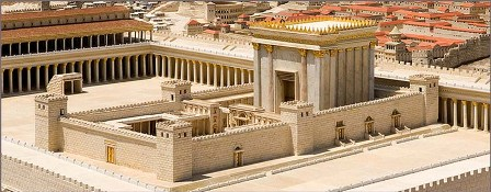 Bible history: reconstruction of the Temple of Jerusalem as it was at the time of Jesus