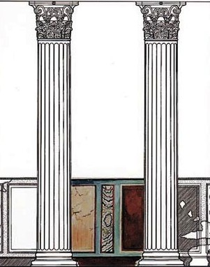 Masada: sketch of Corinthian columns with painted wall