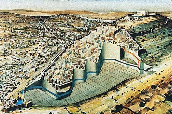 Jerusalem before King David: The spring at Jebus (shown in blue) ran underneath the rock spur. Shafts (orange) were cut down into the rock so water could be drawn from the spring during a siege.
