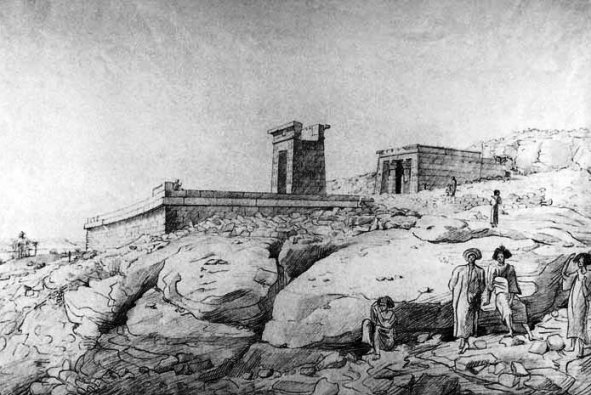 A drawing of the Temple of Dendur in its original Egyptian setting