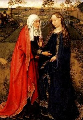 Virgins and maidens. The expectant Mary greets her cousin Elizabeth, who is also expectant