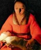 The Newborn, George de la Tour, detail of the painting