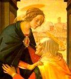 Elizabeth kneels as she greets Mary of Nazareth