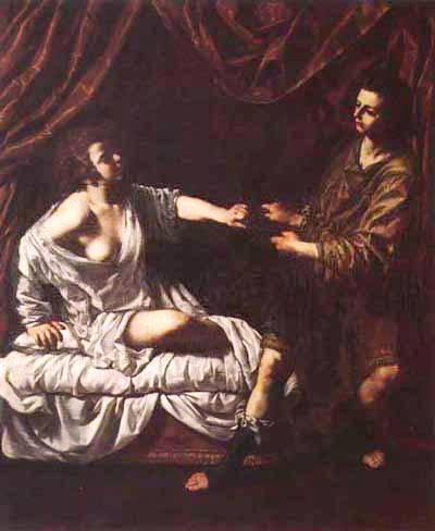 Bible Paintings: Joseph and Potiphar's Wife, possibly by Artimesia Gentileschi