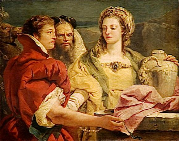 Rebecca, Isaac paintings: Giovanni Tiepolo, Rebecca at the Well