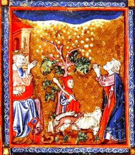 Hail, one of the Ten Plagues of Egypt, medieval painting