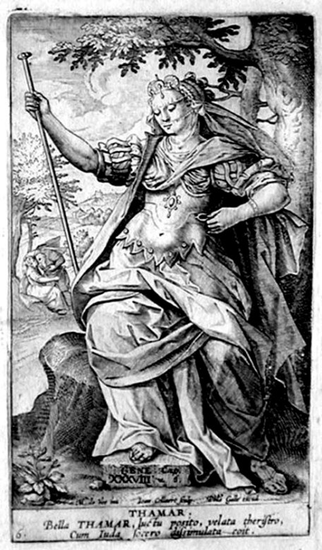 BIBLE PAINTINGS: TAMAR: Hans Collaert, Antwerp, engraving