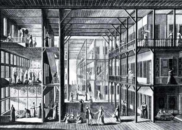 Drawing of the 18th-19th century Turkish harem in Istanbul. The women's quarters in Solomon's palace were similar.