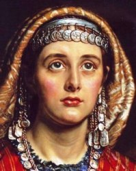 Clothes in ancient times: young Middle Eastern woman with jewelry of silver coins
