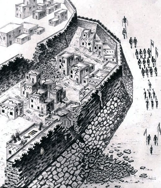 An artist's reconstruction of the fallen walls in biblical-era Jericho