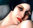 Detail of a painting by Tamara de Lempicka