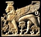 A winged sphinx, ivory. It has an animal's body and a human head; the meaning of this symbolism is not known.