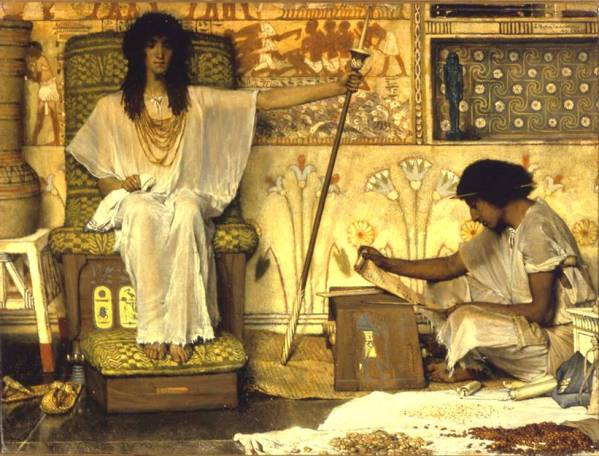 Bible paintings: Joseph, Overseer of Pharaoh's Granaries, painted by Sir Lawrence Alma-Tadema, 1874
