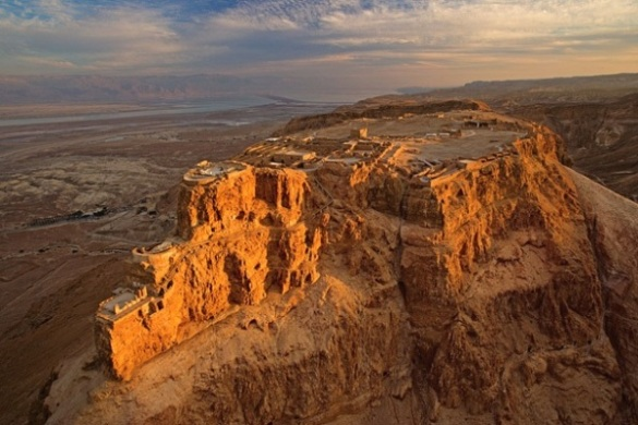 Masada at sunset - view of the whole plateau