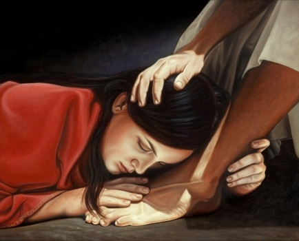 Adultery in the Bible. Jesus and the woman taken in adultery