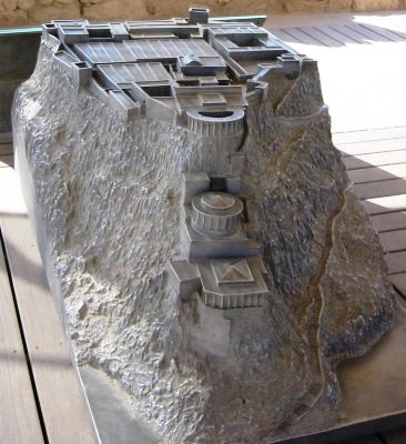 Masada: architectural model of the three tiers of the northern palace, with storerooms at rear