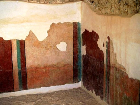 Painted murals in the bathhouse, Masada