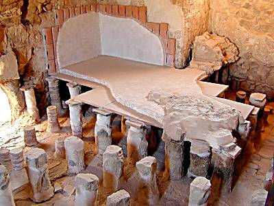Masada: part of the reconstructed bathhouse: the caldarium, with underfloor heated ventilation