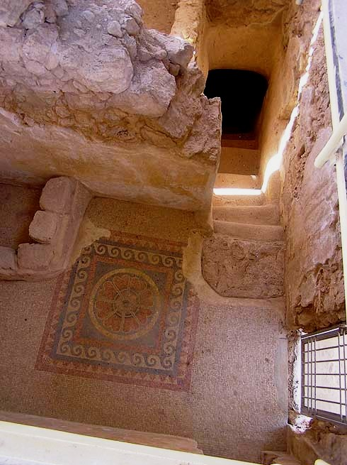 Patterned mosaic floor, stairwell, Masada