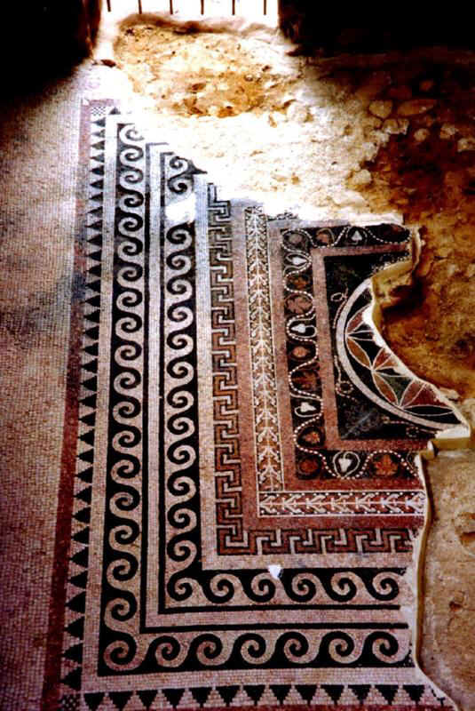 Ornate mosaic floor, Masada. Pattern suggests an Oriental carpet