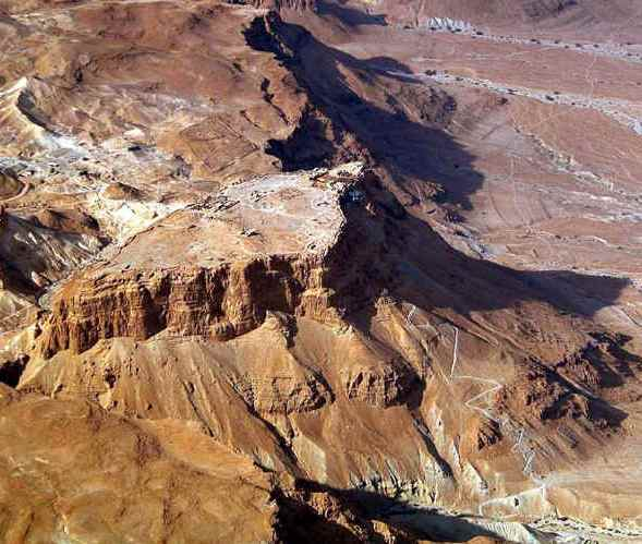Aerial view of Masada, with the 'Snake Path'