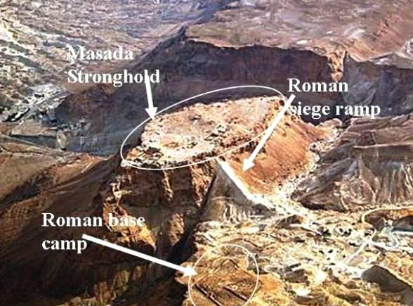 Masada: Roman base camp, the Snake Path and Siege Ramp
