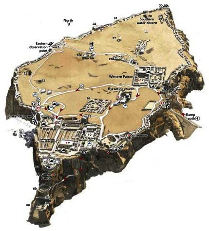 Location of buildings on the plateau at Masada