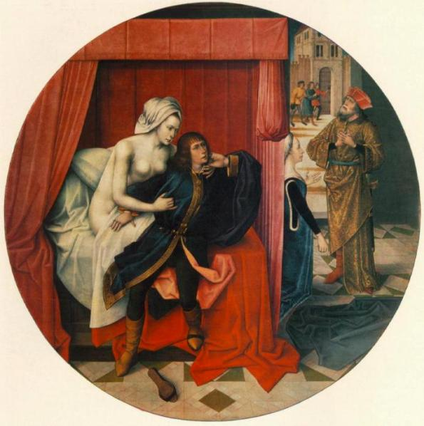 Bible paintings: Master of the Joseph Legend, Flemish, c1500, Potiphar's Wife and Joseph