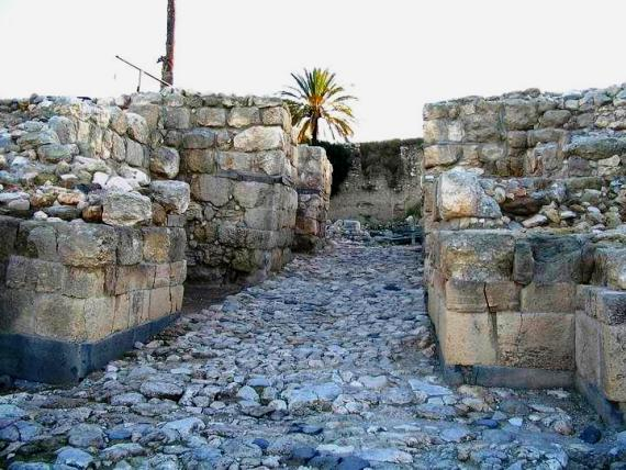 The massive defensive gateway at the ancient biblical city of Megiddo