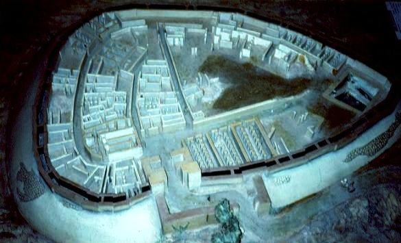 Beersheba ancient city: model of ancient Beersheba, with different areas for palace, storerooms, houses and administrative area