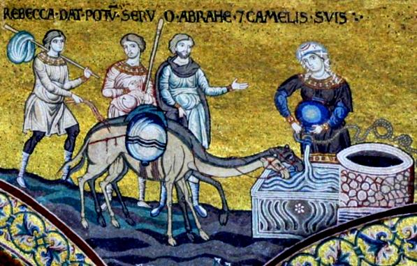 Rebecca, Isaac artworks: Unknown mosaic artist, wall mosaic from the Norman cathedral at Monreale, Sicily. Scene shows Rebecca getting water for the travellers, and a camel drinking from the well