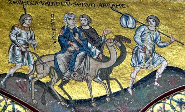 Rebecca, Isaac artworks: Rebecca's journey to meet Isaac, The Norman Cathedral at Monreale, Sicily