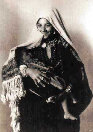 Bible history: a young Middle Eastern woman with her child