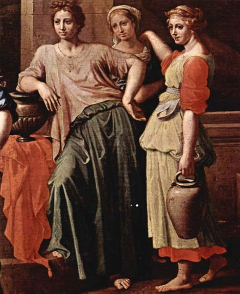 Isaac & Rebecca Paintings, detail of Eliezer and Rebecca at the Well, Nicolas Poussin