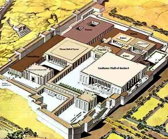 Reconstruction of the palace complex of King Xerxes at Persepolis. Solomon's palace would have been similar, but on a smaller scale