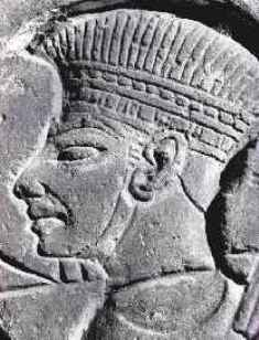 Bible archaeology: ancient city of Dan. Stone carving of a Philistine warrior