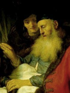 Isaac Rebecca Paintings, Isaac blessing Jacob, Govert Flinck, detail