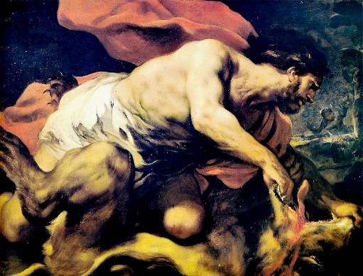 Bible Heroes: Samson killing the lion, painting by Luca Giordano